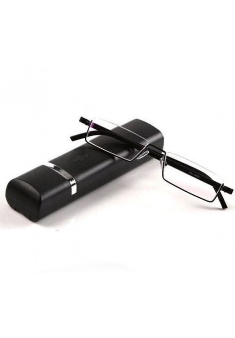Lunettes loupe de lecture noires et son boitier à ouverture automatique