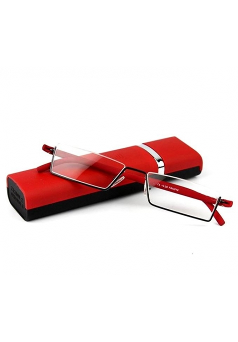 Lunettes loupe de lecture rouges et son boitier à ouverture automatique
